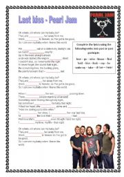 English Worksheet: Pearl Jam - Last kiss