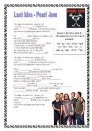 English Worksheets: Pearl Jam - Last kiss