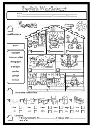 English Worksheet: House Rooms and Furniture