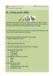 English Worksheets: Comprehension: Mr. Tortoise and Mr. Rabbit