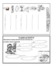English Worksheet: CLEANING ELEMENTS
