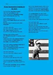 English Worksheets: Dancing in the Dark - Bruce Springsteen
