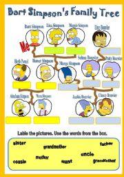 English Worksheet: Bart Simpson´s Family Tree