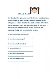 English Worksheets: Lisa�s Day