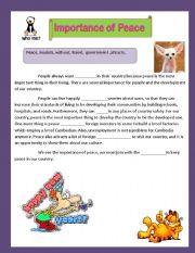 English Worksheets: The Importance of Peace