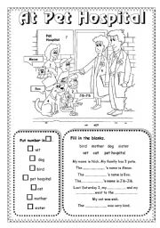 English Worksheet: At Pet Hospital