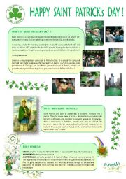 English Worksheet: HAPPY  SAINT  PATRICK´s  DAY  ( 2 pages )