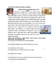 English Worksheets: christopher colombus