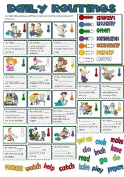 English Worksheet: DAILY ROUTINES - adverbs of frequency  (B&W included)