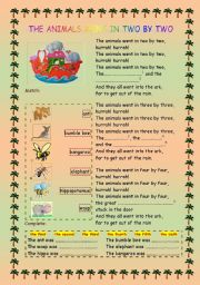 English Worksheets: The Animals Went In Two by Two