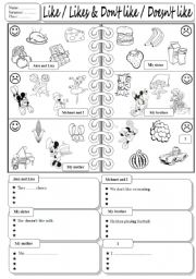 English Worksheet: Like & Dislike ( using the food and the main verbs)