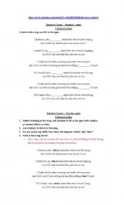 English Worksheets: I started a joke - Bee Gees: the difference between �that� and �which� in relative clause