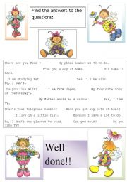 English Worksheets: FIND THE ANSWERS...