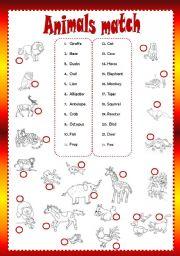 English Worksheets: Animals match