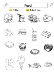 English Worksheet: Food- expressing like and dislike