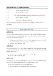 English Worksheet: 20 activities to practise English (speaking and listening)