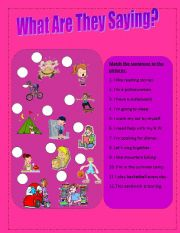 English worksheet: WHAT ARE THEY SAYING?