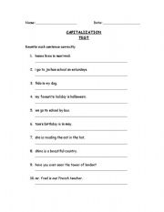 English worksheet: Capitalization Test