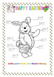 English Worksheet: Pooh, the Easter Bunny!! Let�s paint it!