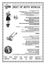 English Worksheets: Hannah Montana Song: Best of Both Worlds