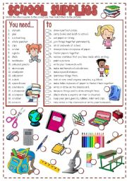 English Worksheet: SCHOOL SUPPLIES - matching (B&W + KEY included)