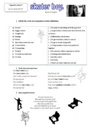 English Worksheet: Skater boy - drescribing people