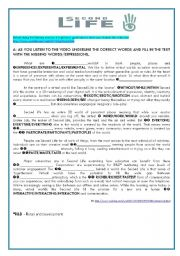English Worksheet: video and listening - Virtual Games (second life) Key included