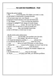 English Worksheet: TEST: First and second conditional