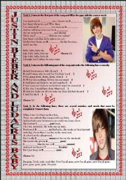 English Worksheets: Song Activity: JUSTIN BIEBER-BABY. KEY INCLUDED. FULLY EDITABLE