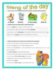 English Worksheet: Everyday activities- Slang expressions