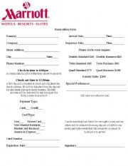 English worksheets hotel reservation form hotel reservation form thecheapjerseys Choice Image