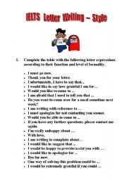 English Worksheet: IELTS Letter Writing - Style