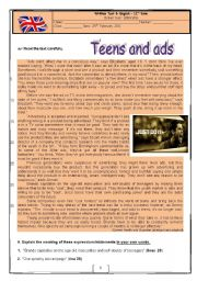 English Worksheet: Test teens and ads
