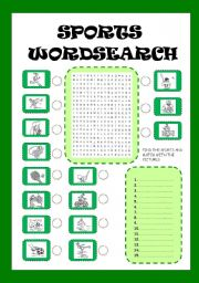 English Worksheet: SPORTS WORDSEARCH