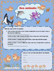 English Worksheets: SEA CREATURE