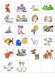English Worksheets: Irregular Plural Nouns memory game