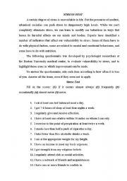 Stress Test Esl Worksheet By Alenka15
