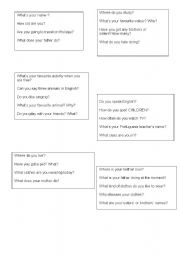English worksheet: personal questions for movers test