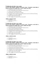 English Worksheet: Using commas
