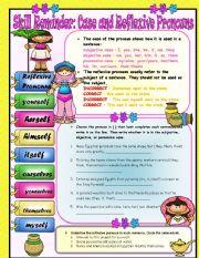 English Worksheet: Skill Reminder- Case and Reflexive Pronouns