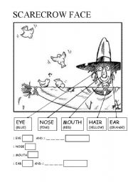 English Worksheets: scarecrow face