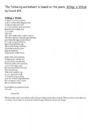 English Worksheet: Poetry activity on killing whales
