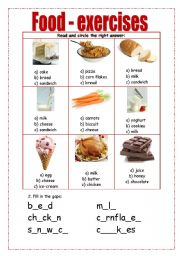 food exercises esl worksheet by borna