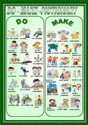 English Worksheet: DO-MAKE -PICTIONARY