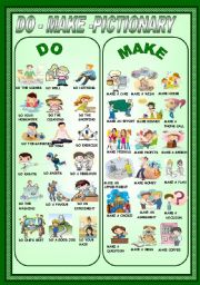 English Worksheets: DO-MAKE -PICTIONARY