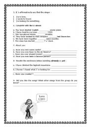 English worksheet: part 2 of exercises on present perfect