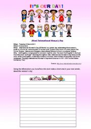 English Worksheet: Women´s International day 2011