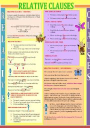English Worksheet: defining and non defining relative clauses