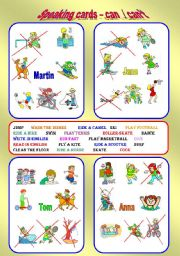 Speaking cards - Can / Can´t - 2 pages, 8 cards. Fully edittable