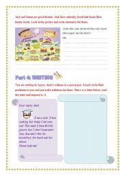 English Worksheets: The writing worksheet on food